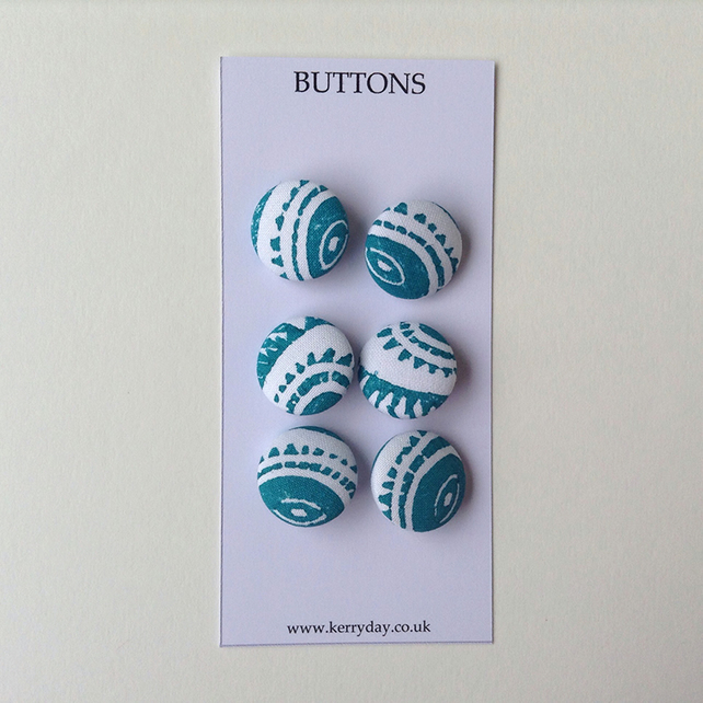 Fabric Covered Buttons - Turquoise on White