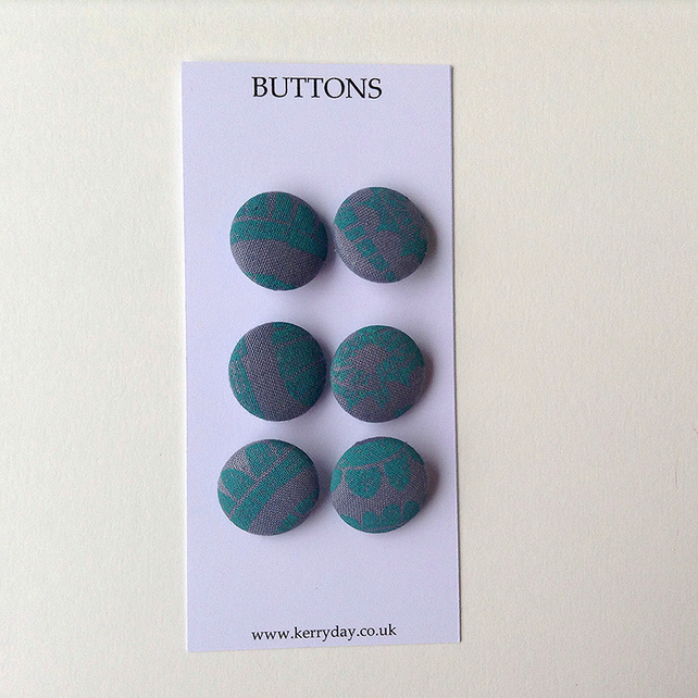 Fabric Covered Buttons - Turquoise
