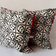 Black and White Leaf and Polka Dot Cushion
