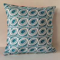Blue Pattern and Red Polka Dot Cushion