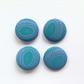 38mm Blue and Turquoise Patterned Buttons