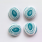 38mm Turquoise and White Buttons