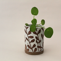 Mini White and Brown Botanical Pots