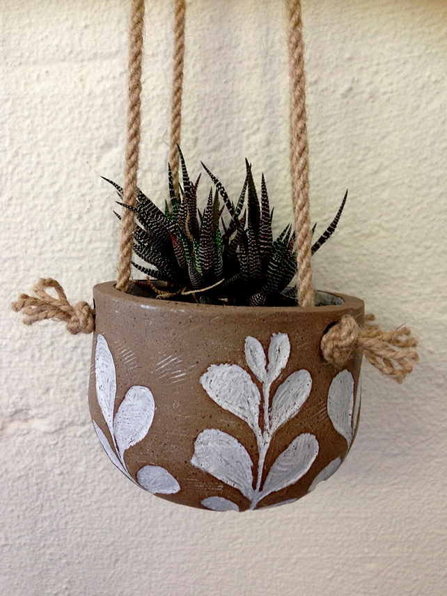 Ceramic Hanging Plant Pot -  Brown with White Leaves