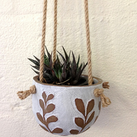 Ceramic Hanging Plant Pot - White with Brown Leaves