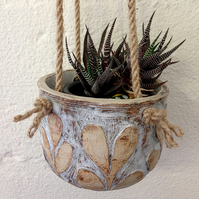 Ceramic Hanging Plant Pot -  White with Cream Leaves