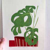 Swiss Cheese Plant - Original Lino Print