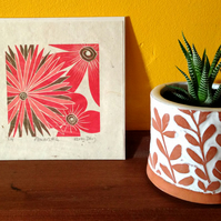 Flowers No 4 - Original Lino Print