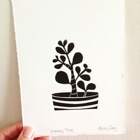 Money Tree - Mini Lino Print