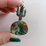 Cactus Sculpture - Green Patina on Copper