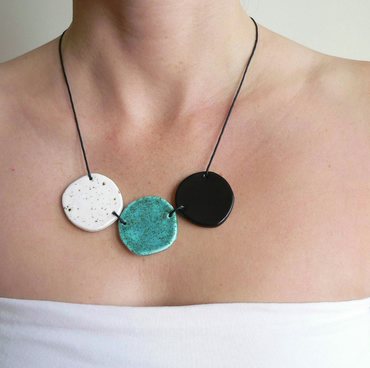 Ceramic Statement Necklace, Black and white necklace, contemporary jewelry
