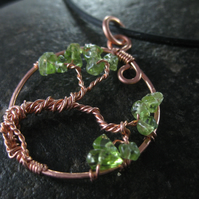 Copper and peridot tree of life pendant