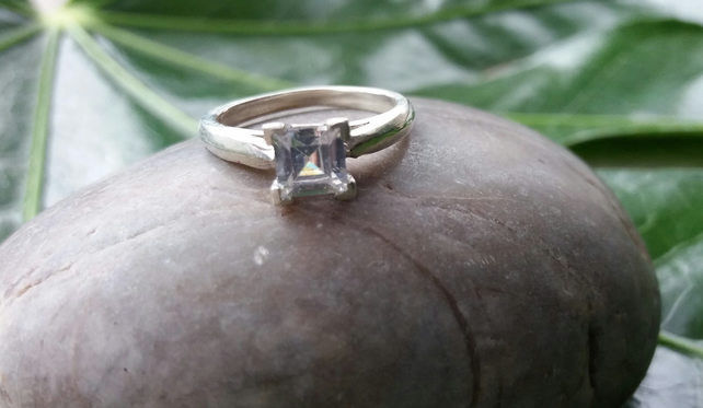 Sterling silver and cubic zirconium ring