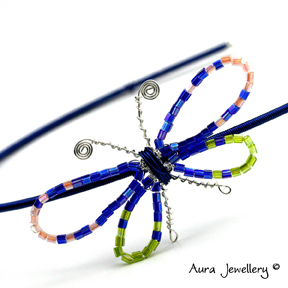 Butterfly Hair Band Headband Alice Band Blue Orange Lime Green Bright Beaded
