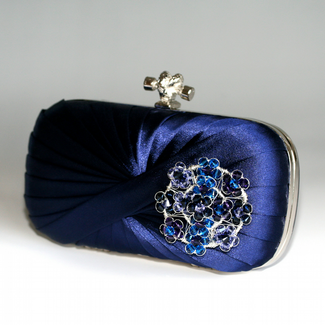 Navy Blue Satin Evening Wedding Clutch Bag Handbag Elegant Handmade ...