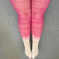 Kendall Popping Pink Knit Ombre Dip Dye Tights