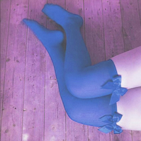 Claire Blue Seduction Bows Thigh High Stockings
