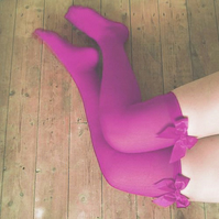 Sofia Orchid Opera Hot Pink Bow Thigh High Stockings