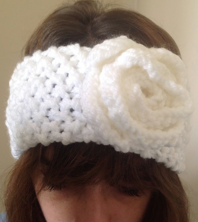 Hand knitted ladies headband, ear warmer  in winter white  with knitted flower