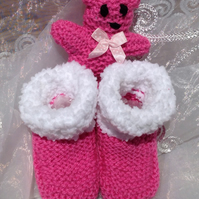 Hand knitted baby bootees , baby slippers in bright pink or made to order,