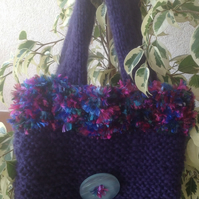 Sale Knitted purple mohair bag  with furry edging, ladies gift knitted bag