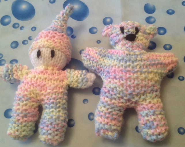 Knitted elf and ted in pastel shades, nursery display gift, photo prop, photo