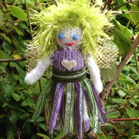 Knitted fairy,hanging decoration, baby keepsake, Christmas