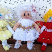 Hand knitted Fairy, lemon, white, red , lilac