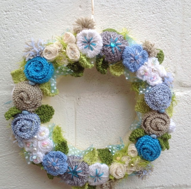 wreath,knitted flowers, summer, blue, condolence, wedding, summer , sprin