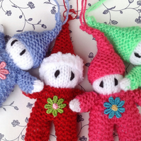Hand knitted  elves, gnomes and Santa