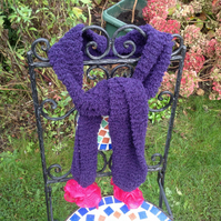 Hand knitted purple scarf with bright pink Pom Pom frills, winter, girls, ladies
