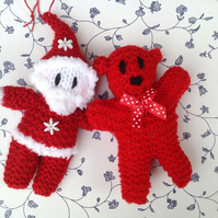Santa and teddy, knitted tree decorations, Christmas nursery decorations,