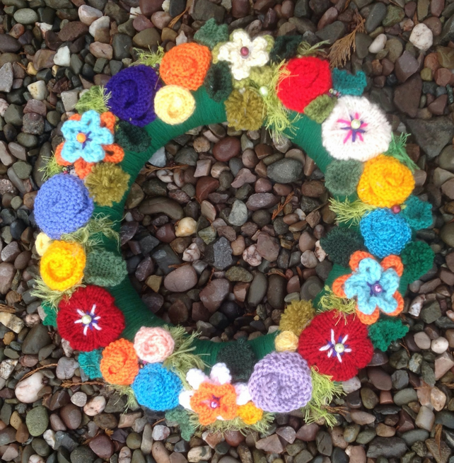 Summer wreath, knitted flowers, wedding,Christmas, door hanging, funeral