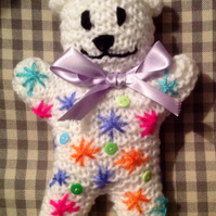 Knitted teddy, decorative bear,new baby gift,christening