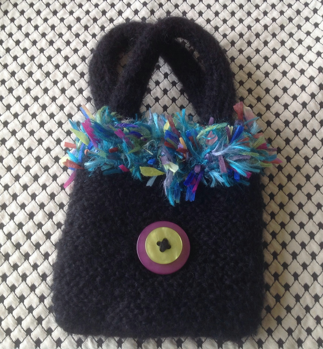 knitted handbag, black, mohair,gift, wedding ,knitted purse,winter,bag