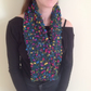 Knitted green scarf , infinity, multi coloured, Mother's Day , Easter spring