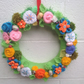 Easter wreath, spring, knitted flowers, Mother's Day new home gift
