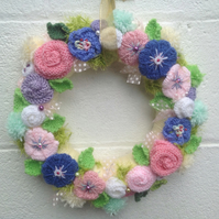 Knitted wreath, pink, lilac flowers, bedroom decor, new born gift , funeral