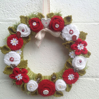 Knitted  door wreath, mantelpiece decoration, wall hanging,red and white