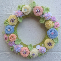 Easter wreath , knitted,spring, Mother's Day ,vintage wedding, , door, pastel,