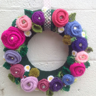 Knitted summer wreath, pink flowers, door hanging, vintage wedding