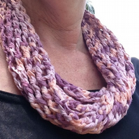 Hand knitted pink scarf, necklace scarf ,infinity scarf,scarflette, slip over