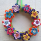 Wreath, knitted flowers, wall hanging door hanging