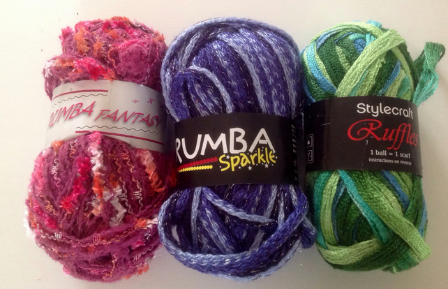 Yarn supply, destash, wool , blue, green pink. For knitting scarves