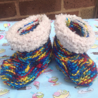 Baby booties,shoes, multicoloured with fluffy edge, winter,ugg boots. Snug boots