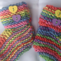 Knitted baby bootees, rainbow, unisex, new born, baby shower, christening unise
