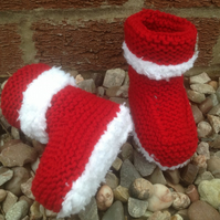 Knitted baby bootees, shoes, Christmas,red, baby shower,new born
