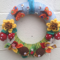 Woodland  wreath , handknitted, wall, door hanging, Christmas, new home ,