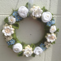 Wedding wreath,knitted flowers, gift, spring door hanging, vintage,Christmas
