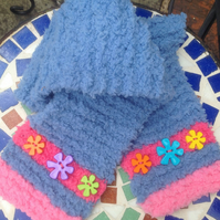 Knitted, toddler,  scarf, blue, fluffy, button, pink. Stripe, Christmas,